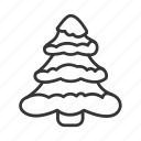 christmas, fir, herringbone, line, snow, tree icon