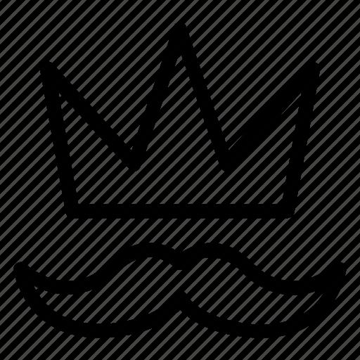 crown, fashion, man, moustache icon