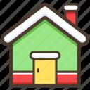 home, christmas, house, chimneys