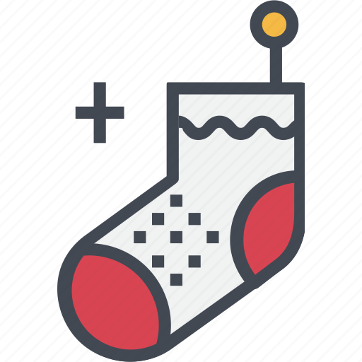 christmas, ornaments, red, sock icon