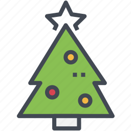 christmas, green, ornaments, tree icon