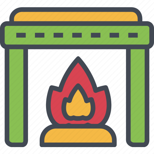 christmas, fire, fireplace, ornaments, warm icon