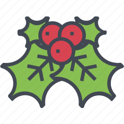 christmas, holly, leaf, ornaments icon