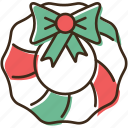 christmas, holidays, winter, wreath, xmas icon
