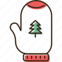christmas, glove, holidays, winter, xmas icon