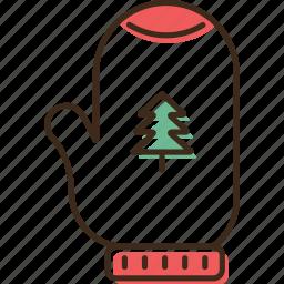 christmas, glove, holidays, winter, xmas icon