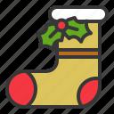 christmas, fashion, holly, sock icon
