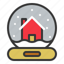 christmas, decoration, house, snowglobe icon