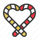 candy cane, christmas, heart, sweets icon