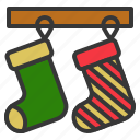 christmas, fashion, hanging, sock icon