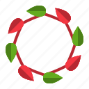 christmas, floral, winter, wreath, xmas icon