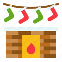 christmas, fireplace, warm, winter, xmas icon