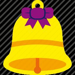 bell, christmas, ribbon, xmas icon