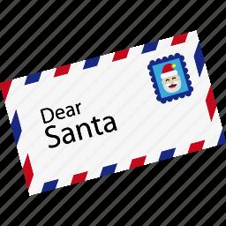 christmas, communication, envelope, letter, post, santa, xmas icon
