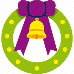 bell, christmas, decoration, ribbon, wreath, xmas icon