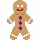cookie, ginger, man, food, decoration, xmas, christmas icon