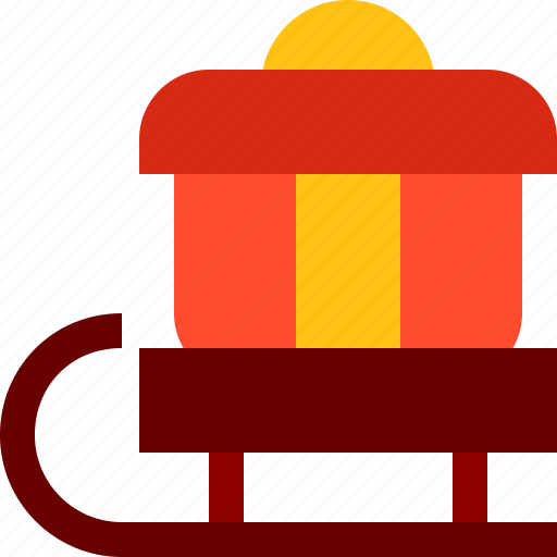 christmas, gift, present, ribbon, santa, sled, xmas icon
