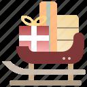 christmas, gift, santa, sled, transportation, xmas
