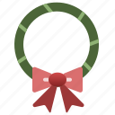 christmas, decoration, holiday, wreath, xmas icon