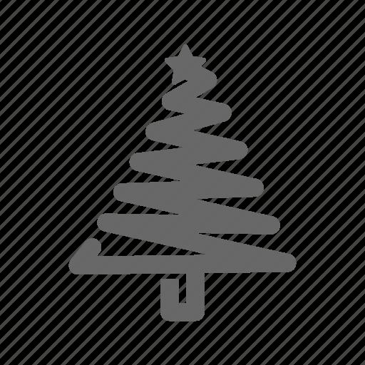christmas, decorative, greeting, line, season, tree icon