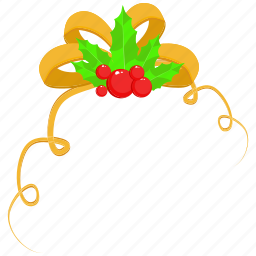 christmas, marry christmas, ribbon, santa icon