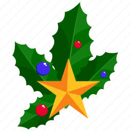 bells, christmas, christmas bells, leaf, leafs, star icon