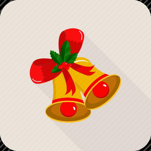 bell, christmas, circle, ribbon icon