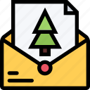 christmas, letter, message, tree, xmas icon