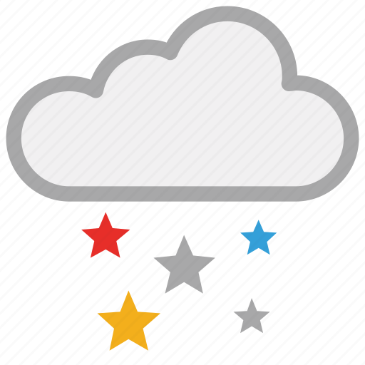christmas, clouds, colorful stars, decorations icon