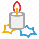 candle, celebrations, christmas candle, decorations icon