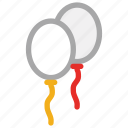 balloons, celebrations, decorations, party icon
