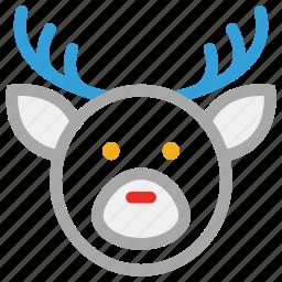 deer, reindeer, reindeer face, xmas icon