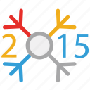 celebrations, decorated 2015 year, happy new year, new year celebrations icon