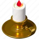 candle, burning, candlestick, winter icon