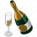 champagne, glass, bottle, celebration icon