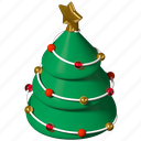 christmas, tree, decorated, garland