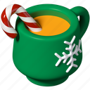 cup, new year, christmas, candy cane icon