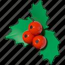 mistletoe, berry, christmas, new year icon