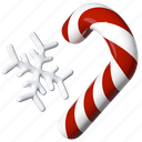 snowflake, candy cane, new year, christmas icon