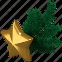 star, fir branch, decoration, new year