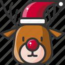 animal, celebration, christmas, hat, reindeer, santa, xmas icon