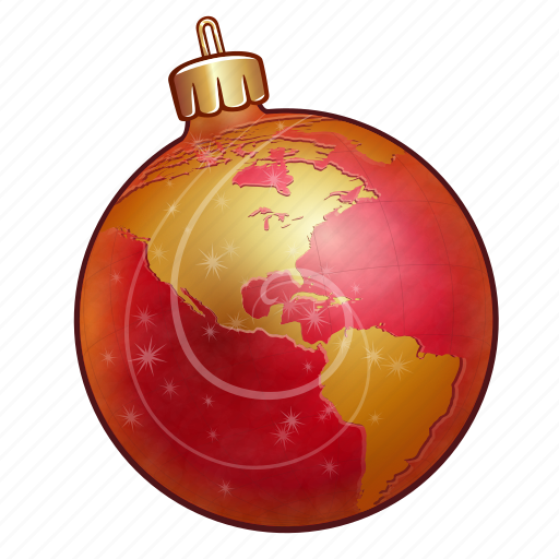 ball, celebration, christmas, decoration, globe, golden, holiday, map, new year, ornament, red, world, xmas icon