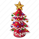 ball, celebration, chritmas, december, holiday, new year, red, star, tree, winter, xmas icon