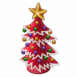 ball, celebration, chritmas, december, holiday, new year, red, star, tree, winter, xmas icon