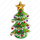 ball, celebration, chritmas, december, green, holiday, new year, star, tree, winter, xmas icon