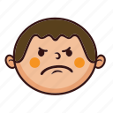 angry, boy, chubby, cute, fat, kid, smile icon