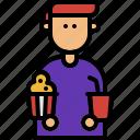 popcorn, soda, moviegoer, theater, film, movie, cinema