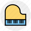 entertainment, equipment, instrument, multimedia, piano, play, sound icon