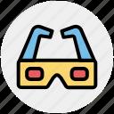 3d, 3d glasses, cinema, entertainment, film, goggles, movie icon