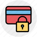 card, credit, lock, locked, protection, safety, security icon